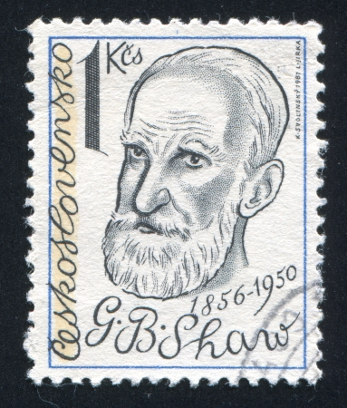 CZECHOSLOVAKIA - CIRCA 1981: stamp printed by Czechoslovakia, shows George Bernard Shaw, playwright, circa 1981