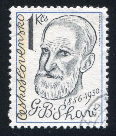 satirist: CZECHOSLOVAKIA - CIRCA 1981: stamp printed by Czechoslovakia, shows George Bernard Shaw, playwright, circa 1981