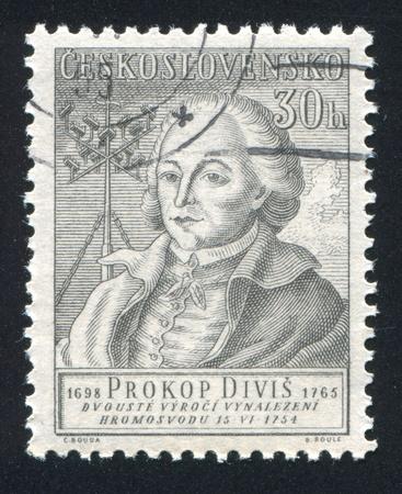 czechoslovakia: CZECHOSLOVAKIA - CIRCA 1954: stamp printed by Czechoslovakia, shows Prokop Divis, circa 1954
