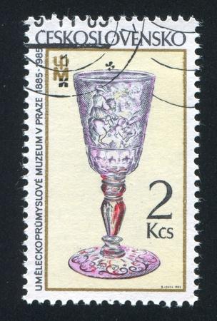 CZECHOSLOVAKIA - CIRCA 1985: stamp printed by Czechoslovakia, shows Bohemian goblet, circa 1985