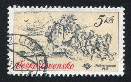 czechoslovakia: CZECHOSLOVAKIA - CIRCA 1981: stamp printed by Czechoslovakia, shows horse mail coach, 1860, circa 1981