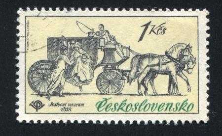 the coachman: CZECHOSLOVAKIA - CIRCA 1981: stamp printed by Czechoslovakia, shows Mail coach, 1830, circa 1981