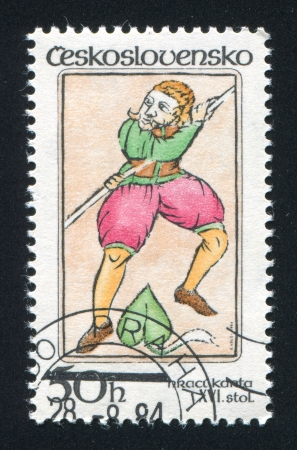 czechoslovakia: CZECHOSLOVAKIA - CIRCA 1984: stamp printed by Czechoslovakia, shows Jack of Spades, circa 1984
