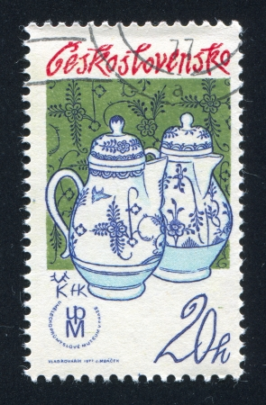 coffeepots: CZECHOSLOVAKIA - CIRCA 1977: stamp printed by Czechoslovakia, shows Coffeepots, Porcelain Mark, circa 1977