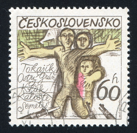 CZECHOSLOVAKIA - CIRCA 1975: stamp printed by Czechoslovakia, shows Guns Pointing at Family, circa 1975