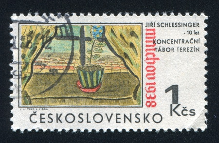 concentration camp: CZECHOSLOVAKIA - CIRCA 1968: stamp printed by Czechoslovakia, shows Flowerpot by Jiri Schlessinger, circa 1968