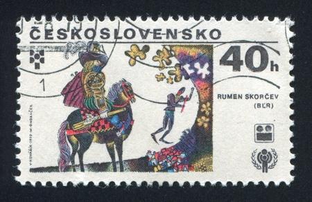 rumen: CZECHOSLOVAKIA - CIRCA 1979: stamp printed by Czechoslovakia, shows Knight on horseback bay Rumen Skorchev, circa 1979 Editorial