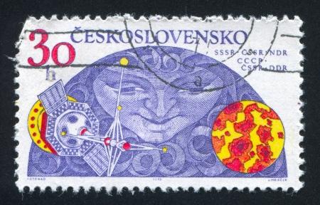 radiacion solar: CHECOSLOVAQUIA - alrededor de 1975: sello impreso por Checoslovaquia, seg�n un estudio de la radiaci�n solar de onda corta, alrededor de 1975 Editorial