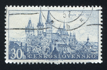 czechoslovakia: CZECHOSLOVAKIA - CIRCA 1957: stamp printed by Czechoslovakia, shows Kolin cathedral, circa 1957