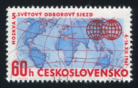 CZECHOSLOVAKIA - CIRCA 1961: stamp printed by Czechoslovakia, shows Globe, circa 1961