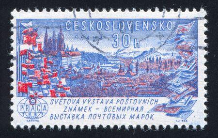 czechoslovakia: CZECHOSLOVAKIA - CIRCA 1961: stamp printed by Czechoslovakia, shows Prague, flags and stamps, circa 1961