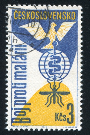 CZECHOSLOVAKIA - CIRCA 1962: stamp printed by Czechoslovakia, shows Dove and malaria eradication emblem, circa 1962