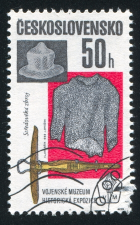 arbalest: CZECHOSLOVAKIA - CIRCA 1985: stamp printed by Czechoslovakia, shows Armor and crossbow, circa 1985
