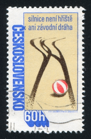 braking distance: CZECHOSLOVAKIA - CIRCA 1978: stamp printed by Czechoslovakia, shows Tire tracks and ball, circa 1978