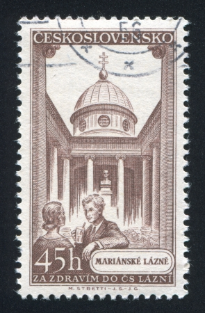 CZECHOSLOVAKIA - CIRCA 1956: stamp printed by Czechoslovakia, shows Marienbad, woman and man, cupola, circa 1956