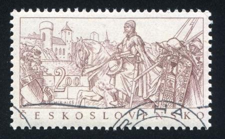 czechoslovakia: CZECHOSLOVAKIA - CIRCA 1952: stamp printed by Czechoslovakia, shows Matej Louda, Hussite Leader, by Mikulas Ales, circa 1952