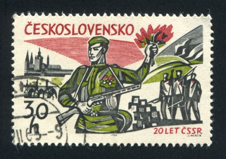 guerrilla: CZECHOSLOVAKIA - CIRCA 1965: stamp printed by Czechoslovakia, shows Russian Soldier, View of Prague and Guerrilla Fighters, circa 1965