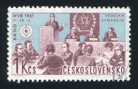 CZECHOSLOVAKIA - CIRCA 1961: stamp printed by Czechoslovakia, shows symposium, circa 1961