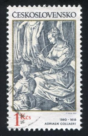 czechoslovakia: CZECHOSLOVAKIA - CIRCA 1982: stamp printed by Czechoslovakia, shows Woman Flautist, by Adriaen Collaert, circa 1982