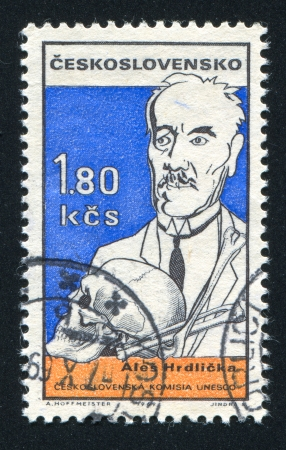 anthropologist: CZECHOSLOVAKIA - CIRCA 1969: stamp printed by Czechoslovakia, shows Ales Hrdlicka, circa 1969 Editorial