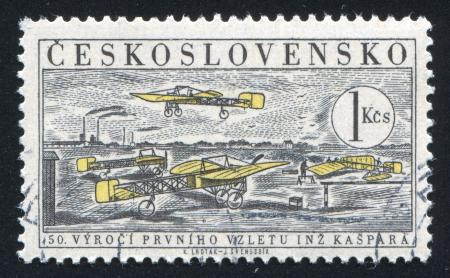 CZECHOSLOVAKIA - CIRCA 1959: stamp printed by Czechoslovakia, shows Planes at First Czech Aviation School, circa 1959