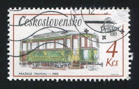 czechoslovakia: CZECHOSLOVAKIA - CIRCA 1987: stamp printed by Czechoslovakia, shows Tram, 1900, circa 1987