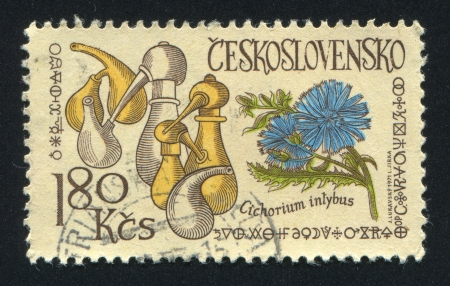 CZECHOSLOVAKIA - CIRCA 1971: stamp printed by Czechoslovakia, shows Retorts and chicory, circa 1971