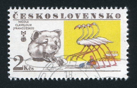 lewis carroll: CZECHOSLOVAKIA - CIRCA 1977: stamp printed by Czechoslovakia, shows Bear and flamingos (Lewis Carroll), by Nicole Claveloux, circa 1977 Editorial