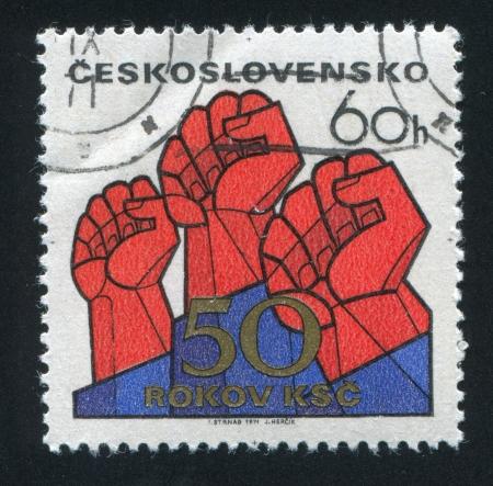 czechoslovakia: CZECHOSLOVAKIA - CIRCA 1971: stamp printed by Czechoslovakia, shows Raised fists, circa 1971