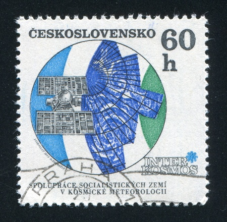 CZECHOSLOVAKIA - CIRCA 1970: stamp printed by Czechoslovakia, shows Molniya meteorological satellite, circa 1970