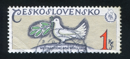 CZECHOSLOVAKIA - CIRCA 1986: stamp printed by Czechoslovakia, shows Dove and laurel branch, circa 1986