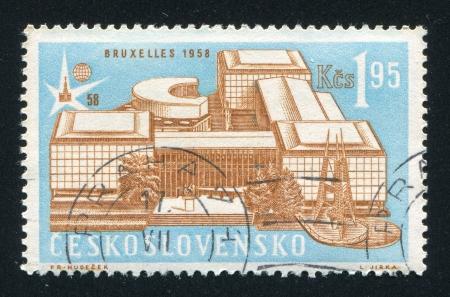czechoslovak: CZECHOSLOVAKIA - CIRCA 1958: stamp printed by Czechoslovakia, shows Czechoslovak Pavillion in Brussels, circa 1958