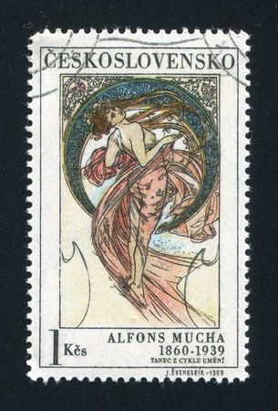 CZECHOSLOVAKIA - CIRCA 1969: stamp printed by Czechoslovakia, shows Dance by Alfons Mucha, circa 1969 Stock Photo - 18777959