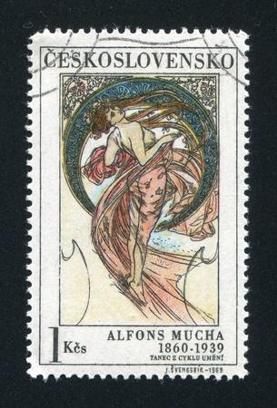 CZECHOSLOVAKIA - CIRCA 1969: stamp printed by Czechoslovakia, shows Dance by Alfons Mucha, circa 1969 Stock Photo - 18777959