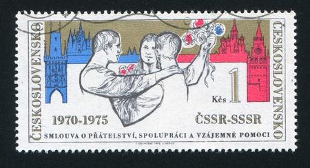 CZECHOSLOVAKIA - CIRCA 1975: stamp printed by Czechoslovakia, shows Czechoslovak russian friendshup, circa 1975 Stock Photo - 18777803