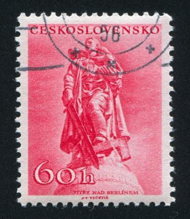 czechoslovakia: CZECHOSLOVAKIA - CIRCA 1956: stamp printed by Czechoslovakia, shows War memorial in Berlin, circa 1956 Editorial