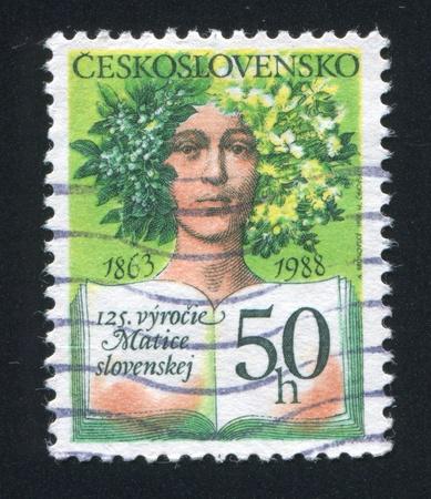 CZECHOSLOVAKIA - CIRCA 1988: stamp printed by Czechoslovakia, shows Matice Slovenska Cultural Association, circa 1988