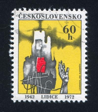 czechoslovakia: CZECHOSLOVAKIA - CIRCA 1972: stamp printed by Czechoslovakia, shows Hand rising from ruins, circa 1972