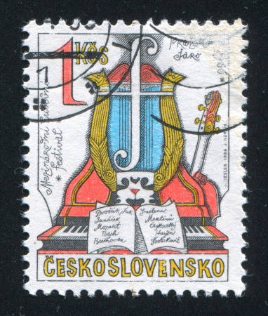 repertoire: Tsjecho-Slowakije - CIRCA 1986: stempel gedrukt door Tsjecho-Slowakije, toont Lente van Praag Music Festival, circa 1986