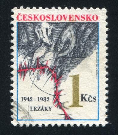 czechoslovakia: CZECHOSLOVAKIA - CIRCA 1982: stamp printed by Czechoslovakia, shows Hands, barbed wire, circa 1982