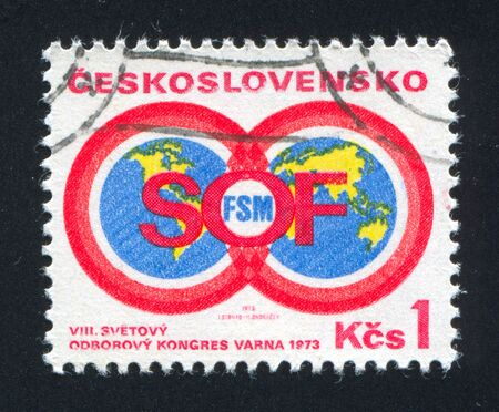 CZECHOSLOVAKIA - CIRCA 1973: stamp printed by Czechoslovakia, shows Trade Union Emblem, circa 1973