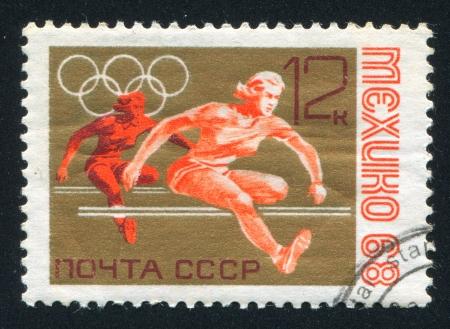 hurdling: RUSSIA - CIRCA 1968: stamp printed by Russia, shows Women's hurdling, circa 1968 Editorial