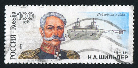 RUSSIA - CIRCA 1993: stamp printed by Russia, shows K.A. Shilder, first all-metal submarine, circa 1993