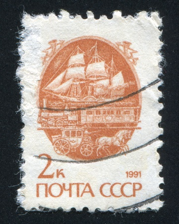 RUSSIA - CIRCA 1991: stamp printed by Russia, shows Early ship, train and carriage, circa 1991