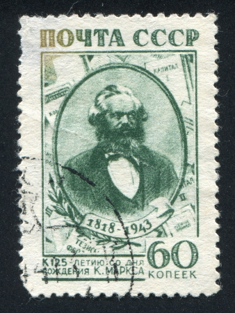 political economist: RUSSIA - CIRCA 1943: stamp printed by Russia, shows Karl Marx, circa 1943 Editorial