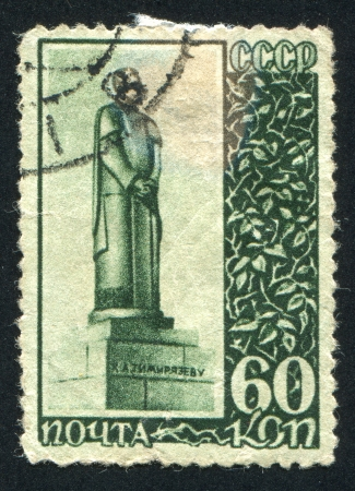 physiologist: RUSSIA - CIRCA 1940: stamp printed by Russia, shows Timiryazev Monument in Moscow, circa 1940 Editorial