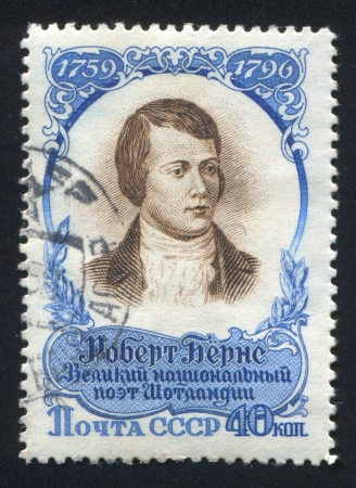 RUSSIA - CIRCA 1959: stamp printed by Russia, shows Robert Burns, Scottish poet, circa 1959 Stock Photo - 18832656
