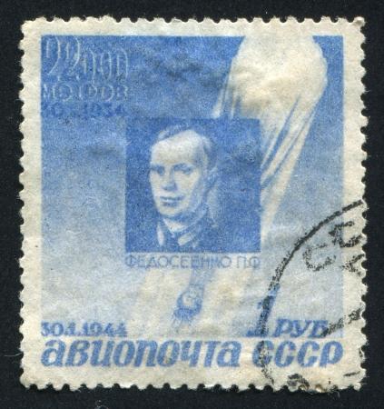 RUSSIA - CIRCA 1934: stamp printed by Russia, shows P. F. Fedoseinko, circa 1934