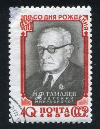 boffin: RUSSIA - CIRCA 1959: stamp printed by Russia, shows Nikolai Gamaleya, circa 1959