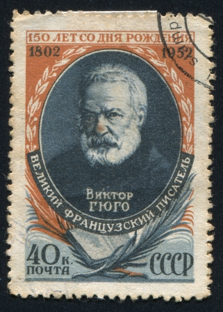 RUSSIA - CIRCA 1952: stamp printed by Russia, shows Victor Hugo, circa 1952